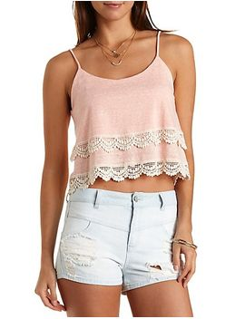 layered-crochet-trim-crop-top by charlotte-russe