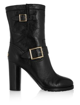 dart-buckled-leather-biker-boots by jimmy-choo