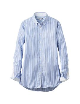 women-idlf-cotton-button-down-long-sleeve-shirt by uniqlo