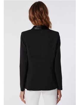 satin-lapel-tailored-blazer-black by missguided
