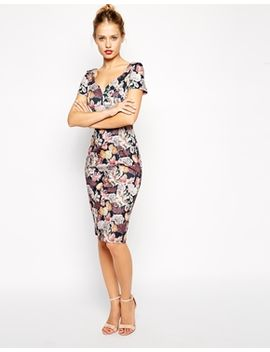 asos-bodycon-midi-dress-in-winter-floral-print by asos-collection