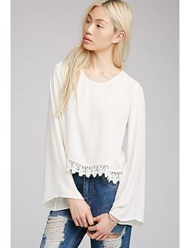 crochet-trimmed-chiffon-top by forever-21