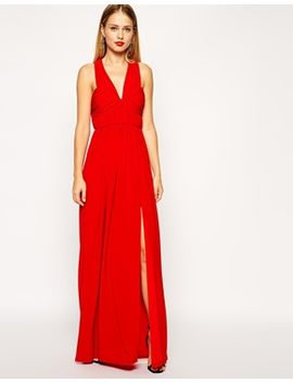 asos-ruched-cross-strap-maxi-dress by asos-collection