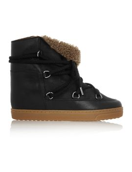 nowles-shearling-lined-leather-concealed-wedge-boots by isabel-marant