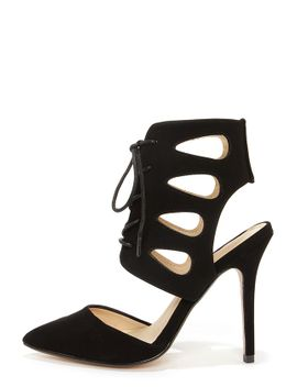 anne-michelle-spiral-26-black-lace-up-pointed-heels by lulus