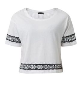 white-embroidered-aztec-trim-1_2-sleeve-top by new-look
