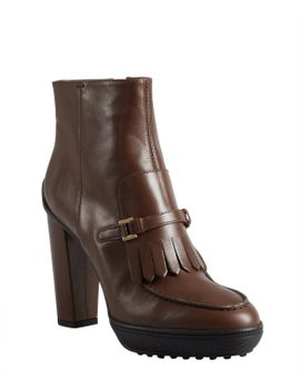 cigar-leather-fringed-buckle-strapped-platform-ankle-boots by tods