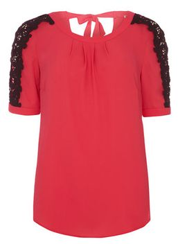 pink-lace-sleeve-blouse by dorothy-perkins