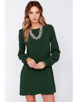 perfect-situation-dark-green-long-sleeve-shift-dress by lulus