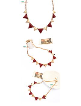 beautiful-gold-tone-maroon-triangle-funky-statement-necklace---jewellery_-jewelry,-triangle-bunting-necklace,-red-necklace by bobbytin
