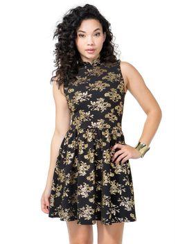 mandarin-foil-floral-flare-dress by agaci
