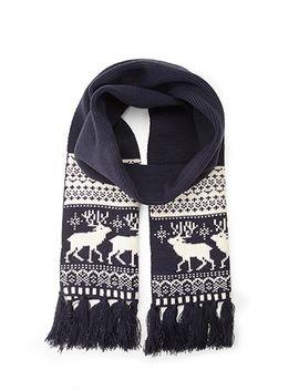 men-fair-isle-deer-scarf by forever-21