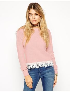 asos-sweater-with-lace-hem-detail by asos-collection