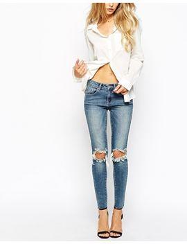 vila-–-enge-jeans-mit-zierrissen-am-knie by vila