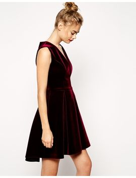 asos-bonded-velvet-deep-plunge-skater-dress by asos-collection
