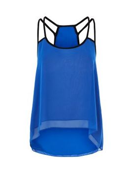 belle-heart-blue-contrast-strap-cami by new-look