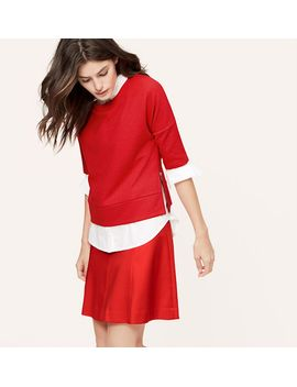 jacquard-short-sleeve-sweatshirt by loft
