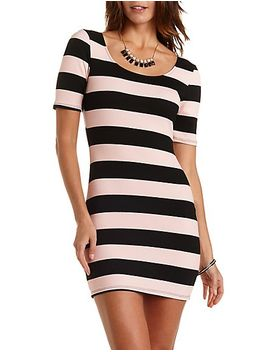 short-sleeve-striped-bodycon-dress by charlotte-russe