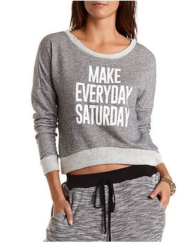 saturday-graphic-boxy-sweatshirt by charlotte-russe