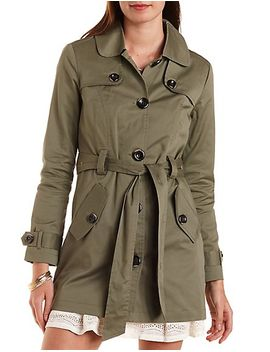 belted-twill-trench-coat by charlotte-russe