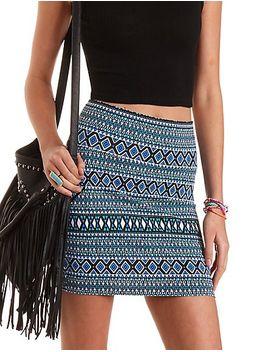 geometric-print-bodycon-mini-skirt by charlotte-russe