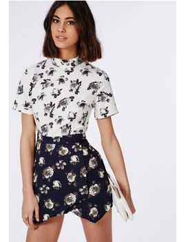 contrast-floral-skort-romper-navy by missguided