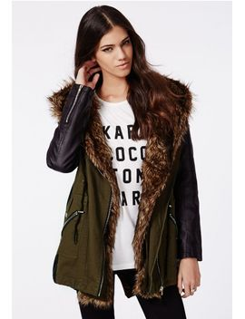 gracia-faux-fur-collar-parka-khaki by missguided