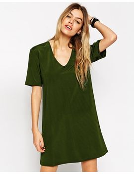 asos-luxe-t-shirt-dress-with-v-neck by asos-collection