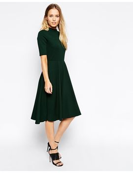 asos-high-neck-textured-midi-dress-with-short-sleeves by asos-collection