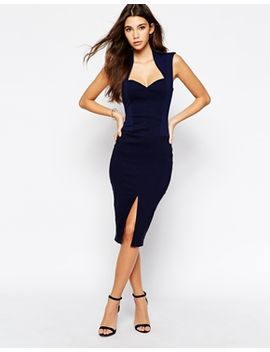 vesper-textured-midi-dress-with-front-split-skirt by vesper