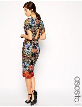 asos-tall-wrap-back-dress-in-wallpaper-print by asos-tall