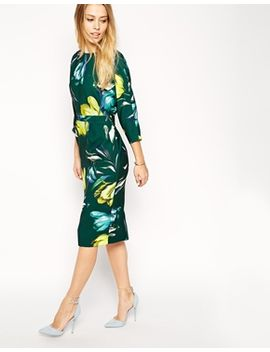 asos-wiggle-dress-with-wrap-back-in-crepe-tulip-print by asos-collection