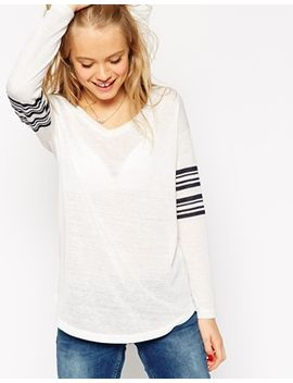 asos-v-neck-stripe-sleeve-top-in-texture by asos-collection