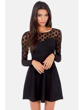 in-hot-dot-ter-long-sleeve-black-dress by lulus