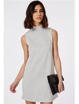 scuba-a-line-shift-dress-monochrome-stripe by missguided