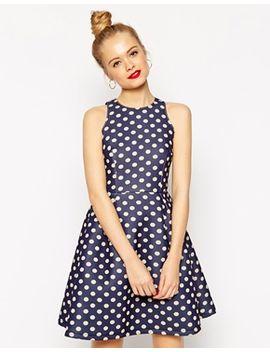 asos-premium-bonded-mini-skater-dress-in-polka-dot by asos-collection