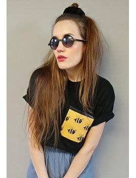 buzz-off-bee-print-crop-pocket-t-shirt by no-brand-name