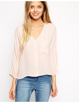 asos-long-sleeve-v-neck-blouse by asos-collection