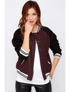 pinch-runner-dark-burgundy-varsity-jacket by lulus