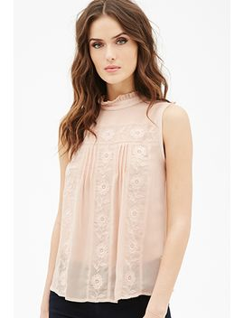 floral-embroidered-pleated-top by forever-21
