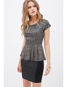 pleated-metallic-woven-peplum-top by forever-21
