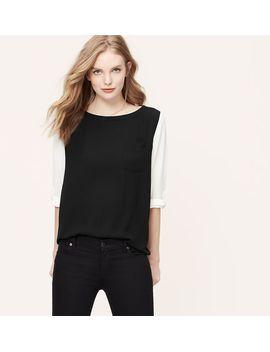petite-colorblock-pocket-blouse by loft