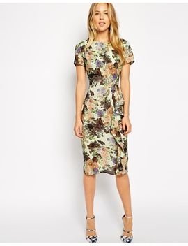 asos-pencil-dress-with-waterfall-detail-in-pretty-digital-floral by asos-collection