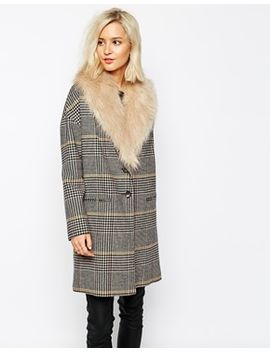 river-island-check-boyfriend-coat-with-faux-fur-collar by river-island
