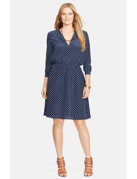 polka-dot-split-neck-dress by lauren-ralph-lauren