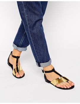 asos-fashtag-toe-post-metal-strap-sandals by asos-collection