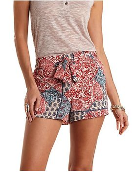 sash-belted-paisley-print-high-waisted-shorts by charlotte-russe