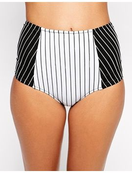 asos-pinstripe-high-waist-bikini-pant by asos-collection