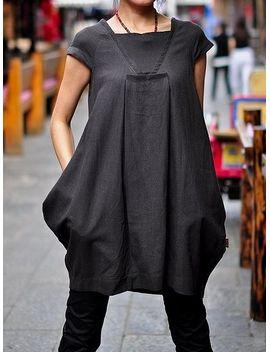 kl055d-hope_women-clothing-plus-size-petite-maternity-day-party-prom-casual-handmade-blouse-summer-chic-linen-cotton-little-black-dress by kelansartcouture