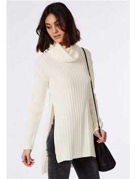 kerena-extreme-side-split-roll-neck-sweater-cream by missguided
